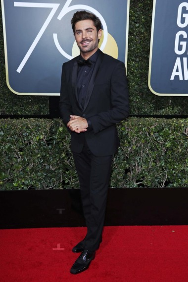 Mandatory Credit: Photo by REX/Shutterstock (9307701hy) Zac Efron 75th Annual Golden Globe Awards, Arrivals, Los Angeles, USA - 07 Jan 2018